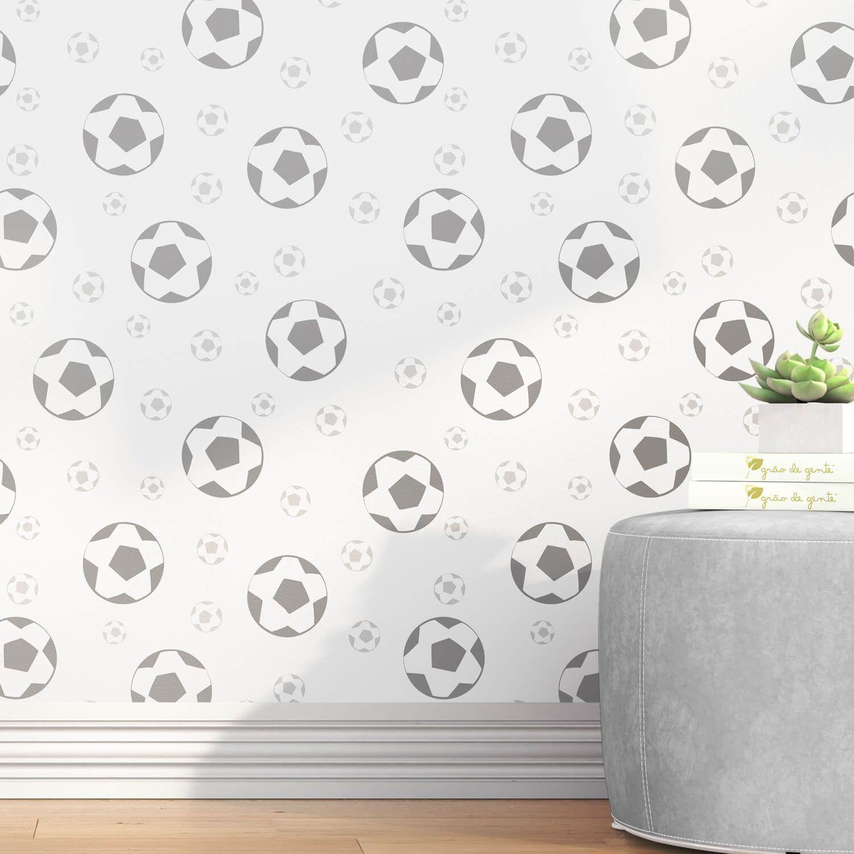 Papel de Parede Bolas de Futebol Cinza 3m  a1e0b2dd8cae4