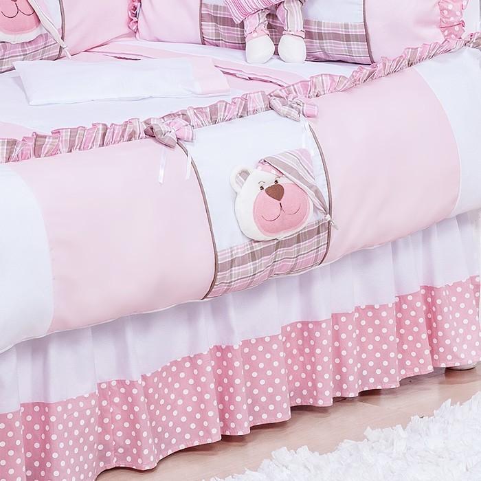Saia para Berço Urso Soninho Rosa