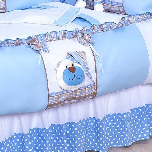 Saia para Berço Urso Soninho Azul