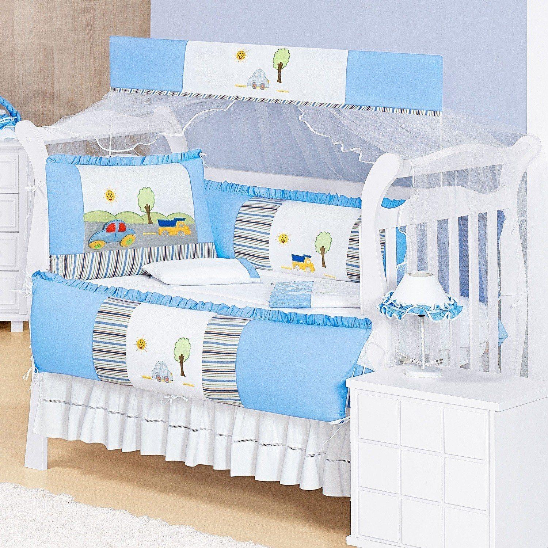 Kit Berço Estrada Azul Bebê