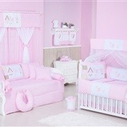 Quarto para Bebê Sem Cama Babá Passarinhos Rosa