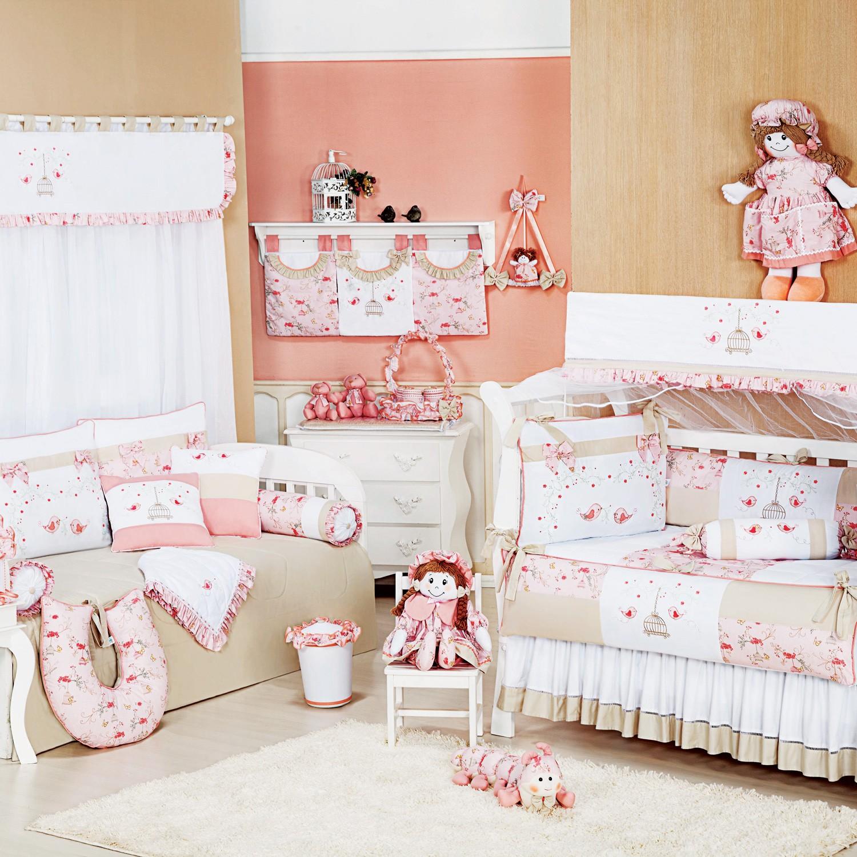 Quarto para Bebê Sem Cama Babá Primavera Rosa
