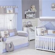 Quarto para Bebê sem Cama Babá Urso Fofo Azul