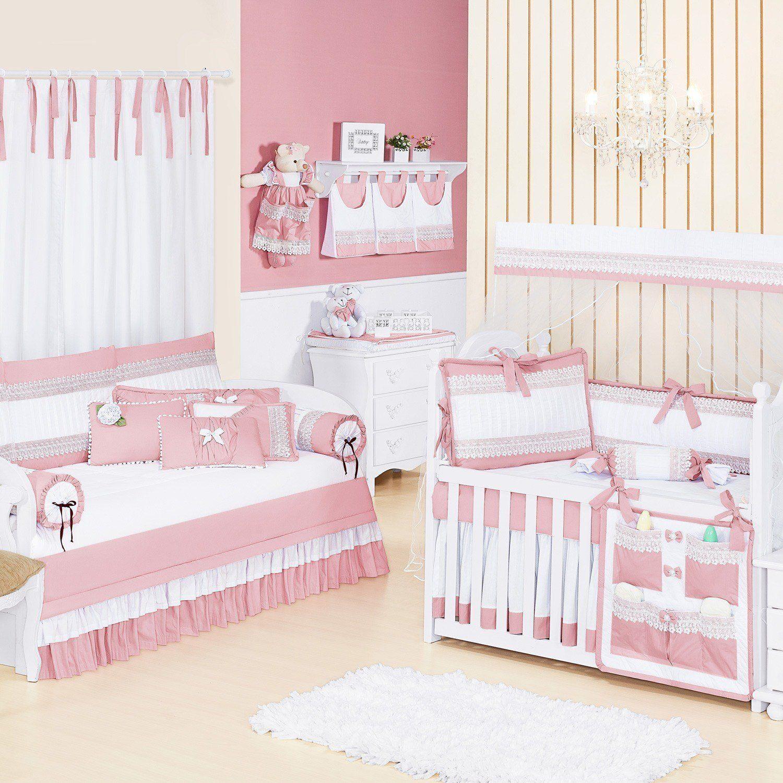 Quarto para Bebê sem Cama Babá Belle Rosé