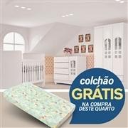 Quarto para Bebê Selena com Berço/Cômoda/Guarda Roupas 3 Portas