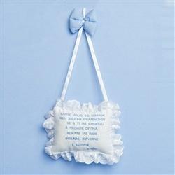 Enfeite Oração Santo Anjo Teddy Azul