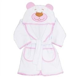 Roupão com Capuz Urso Rosa