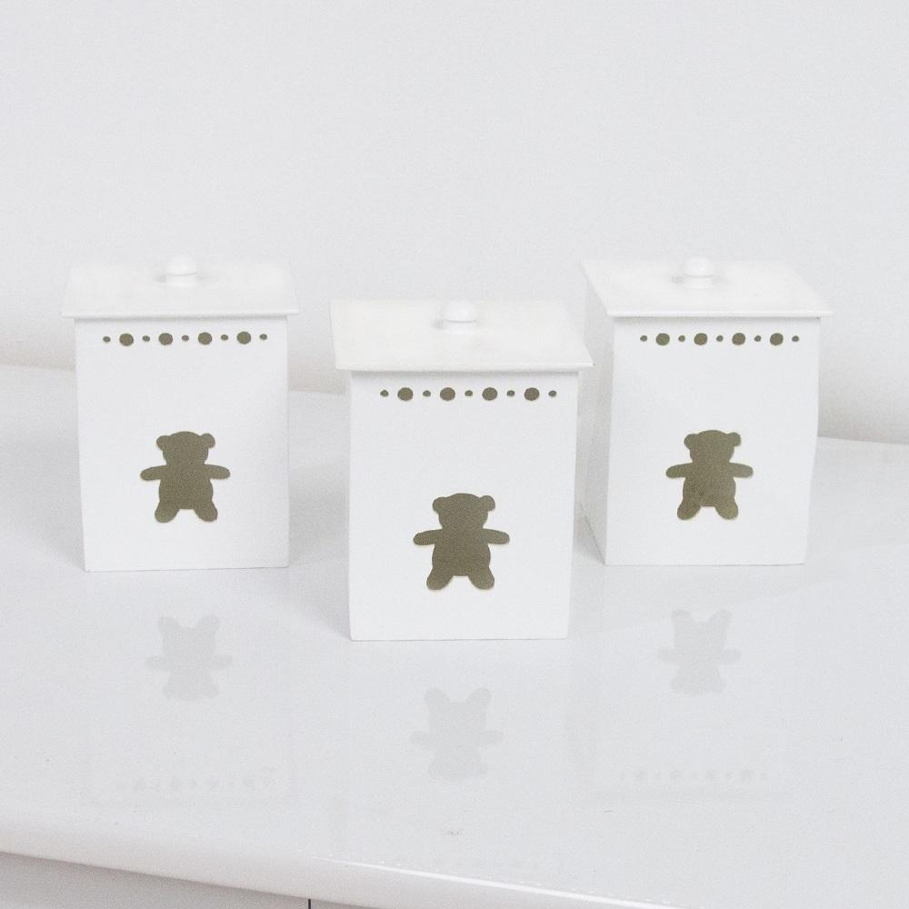 Jogo de Potes Teddy Branco