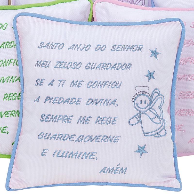 Almofada Oração Santo Anjo Azul