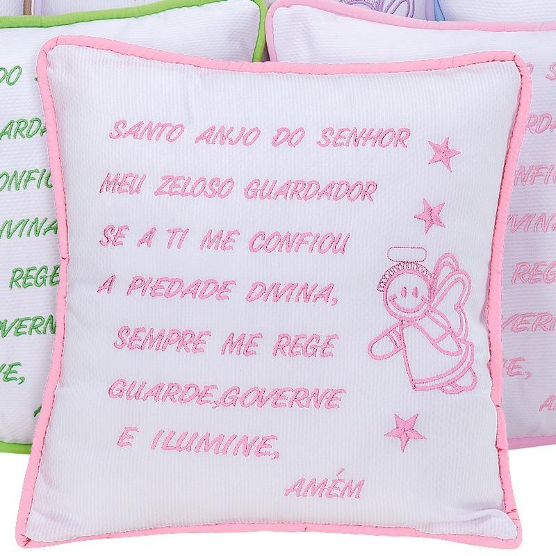 Almofada Oração Santo Anjo Rosa