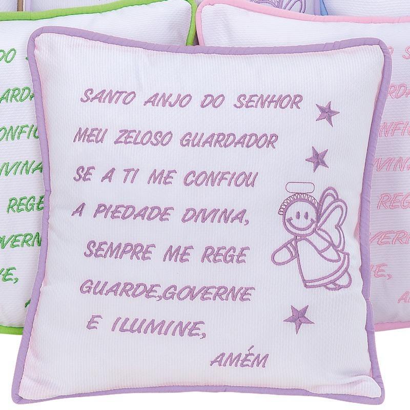 Almofada Oração Santo Anjo Lilás