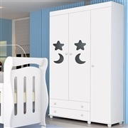 Quarto para Bebê Céu com Berço/Cômoda/Guarda Roupas de 3 portas
