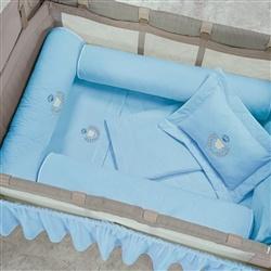 Kit Protetores para Berço Desmontável Urso Azul 03 peças