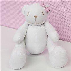 Urso M Lacinho Rosa Poá