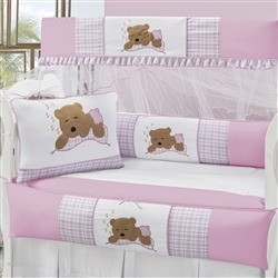 Kit Berço Bebê Ursa Rosa