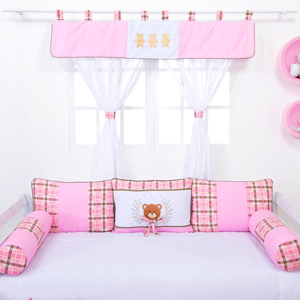 Cortina Ursinho Luxo Rosa