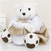 Ursinho Porta Cotonete Teddy Cáqui