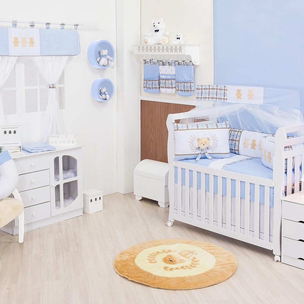 Quarto para Bebê sem Cama Babá Ursinho Luxo Azul