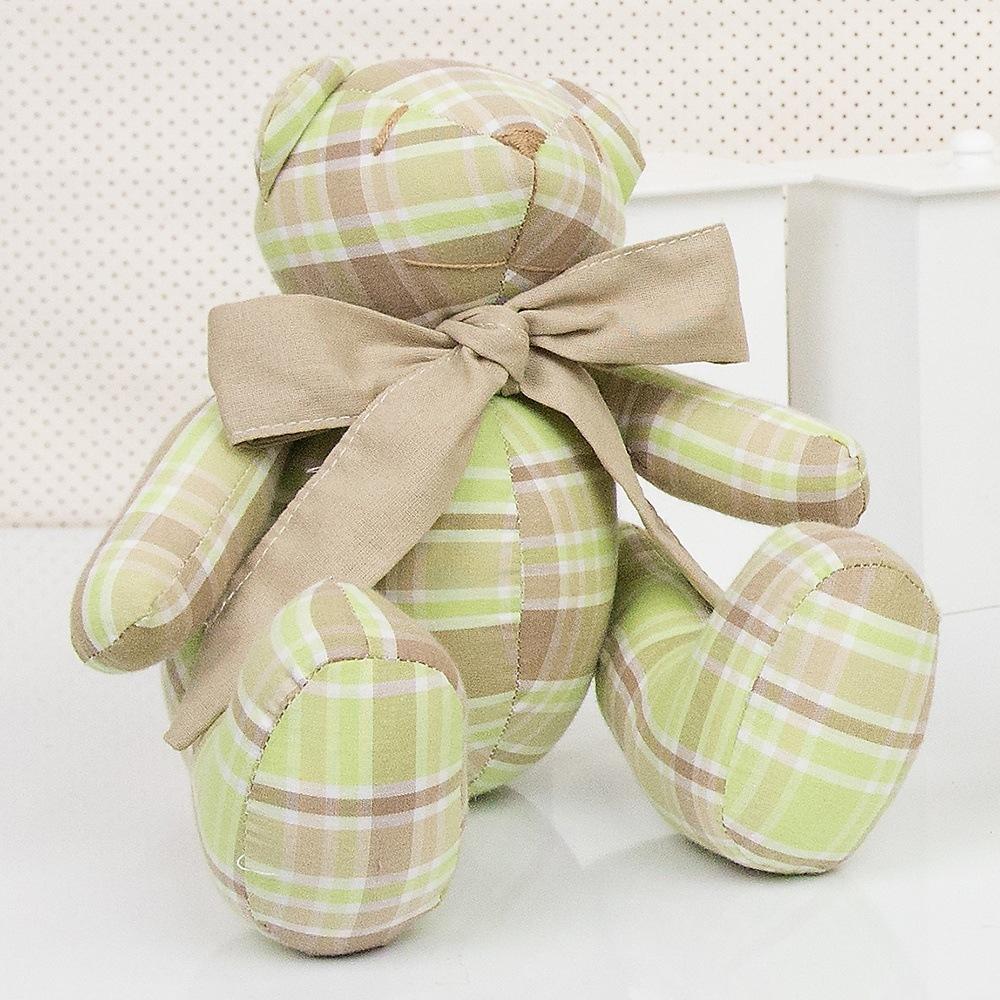 Urso P Xadrez Bege e Verde
