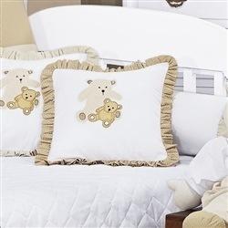 Almofada Decorativa Bege Família Urso