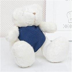 Urso P Bandana Poá Azul