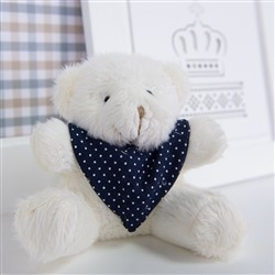 Urso Mini Bandana Poá Marinho