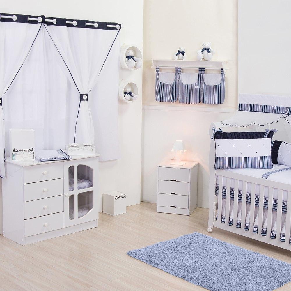 Quarto para Bebê sem Cama Babá Star Marinho