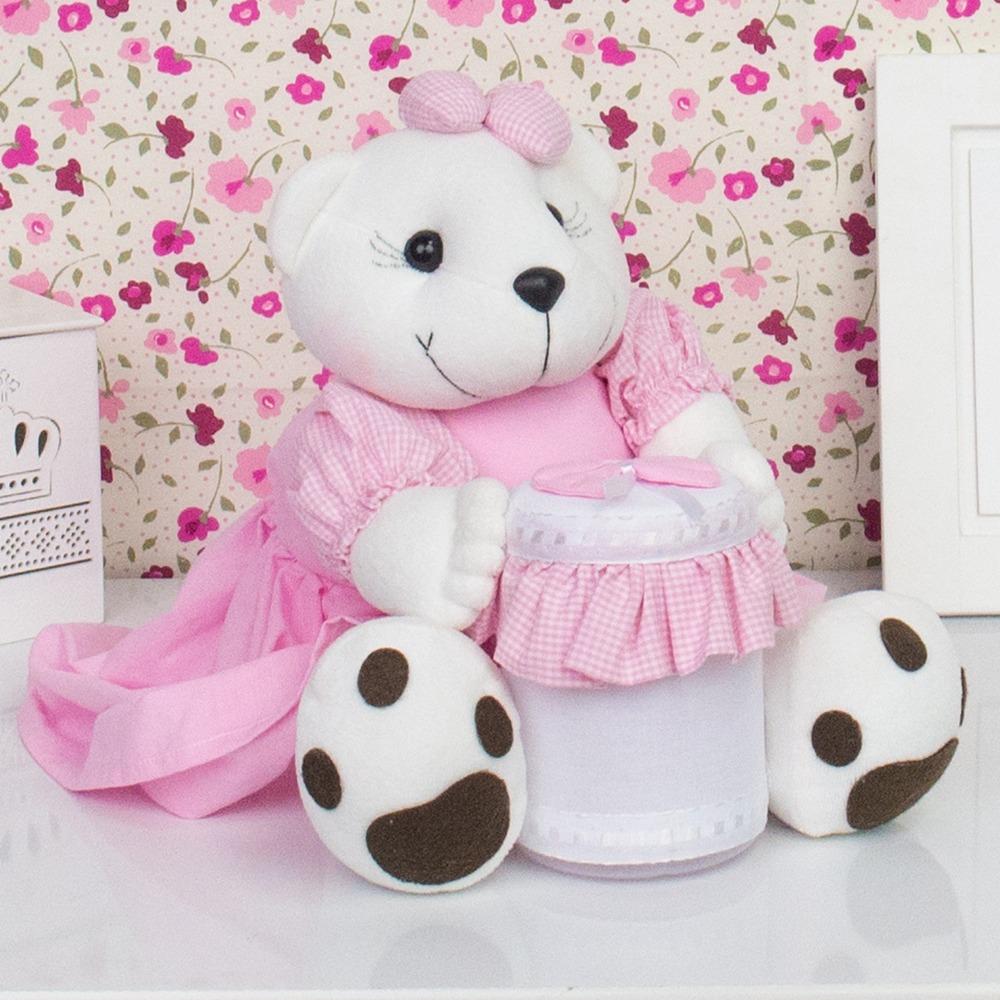 Ursa Porta Cotonete Rosa