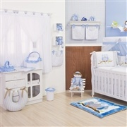 Quarto para Bebê sem Cama Babá Corujinha Azul