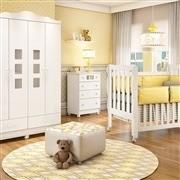 Quarto para Bebê Lila com Berço/Cômoda/Guarda Roupas de 4 Portas