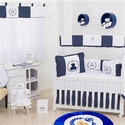 Quarto para Bebê sem Cama Babá Urso Real Marinho Poá