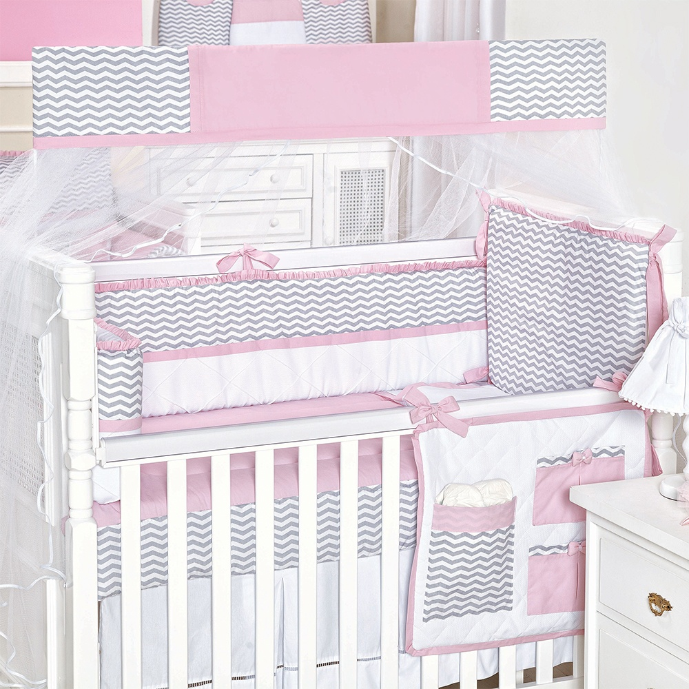 Kit Berço Baby Chevron Rosa