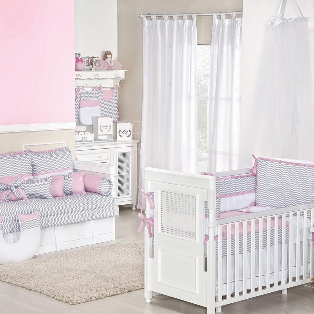 Quarto para Bebê Baby Chevron Rosa