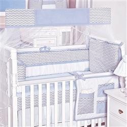Kit Berço Baby Chevron Azul
