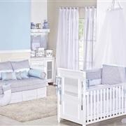 Quarto para Bebê sem Cama Babá Baby Chevron Azul