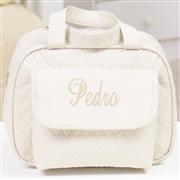Conjunto de Bolsas Maternidade Nome Personalizado Bege