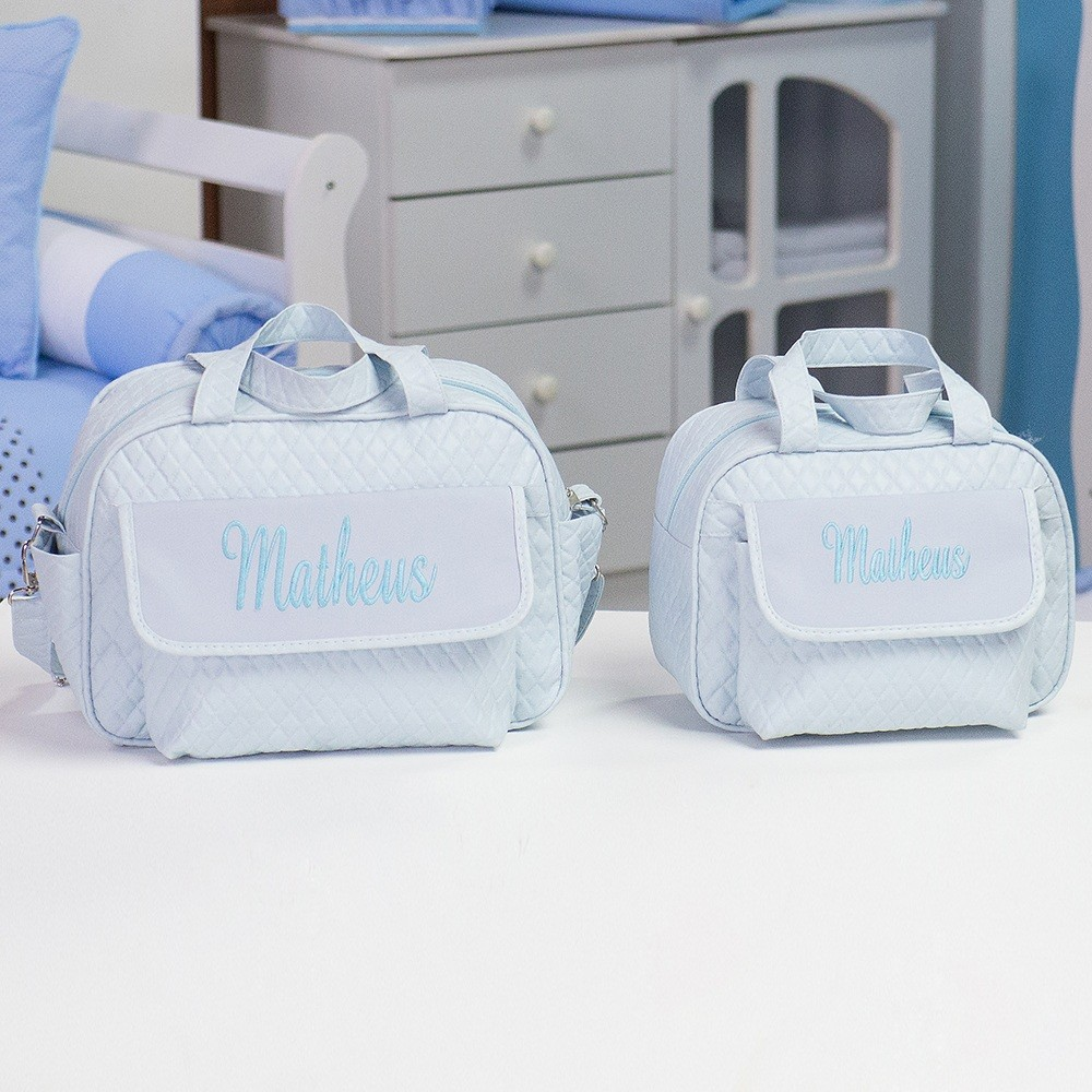 Conjunto de Bolsas Maternidade Nome Personalizado Azul
