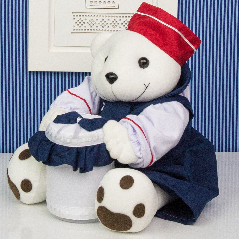 Urso Porta Cotonete Marinheiro