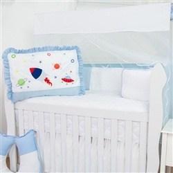 Kit Berço Foguete Azul Bebê