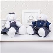 Casal Ursos Jardineiros Branco