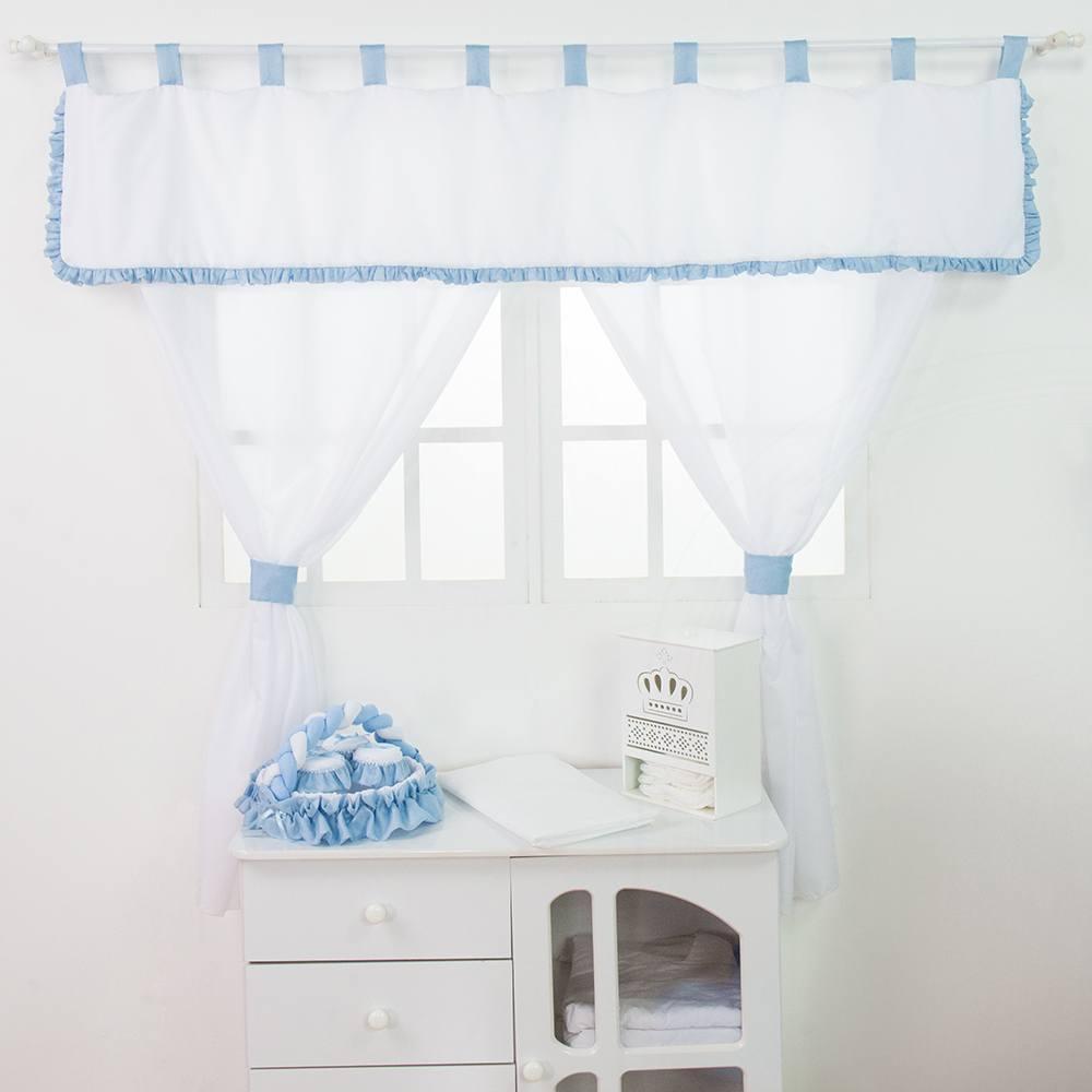 Cortina Transportes Azul Bebê