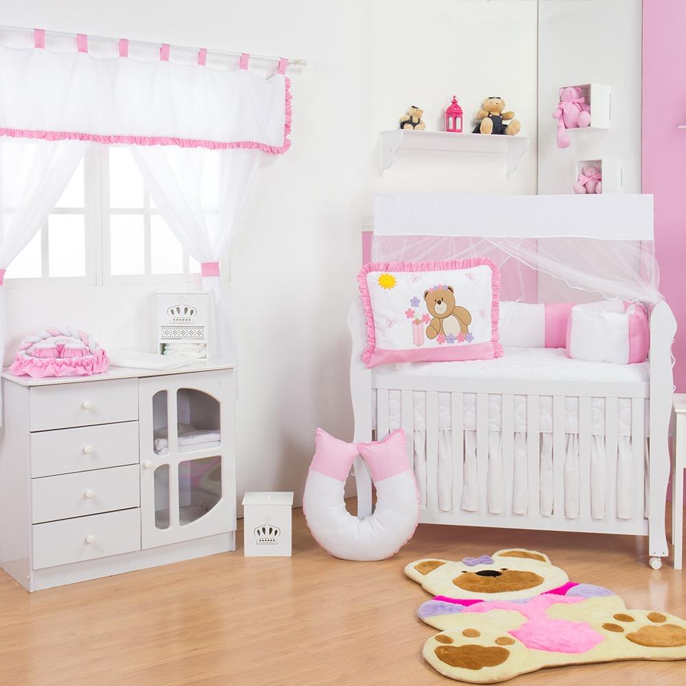 Quarto para Bebê sem Cama Babá Ursa Flor Rosa