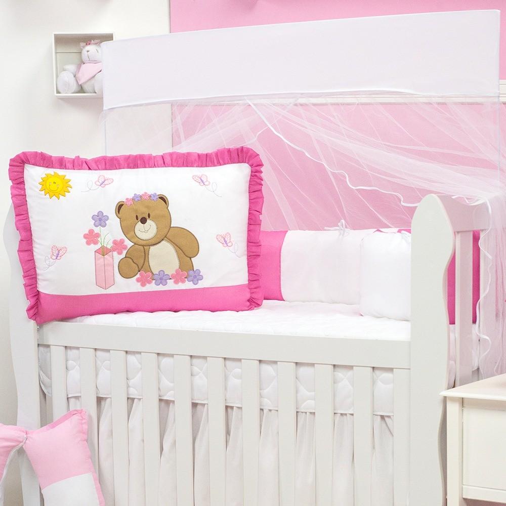 Kit Berço Ursa Flor Pink