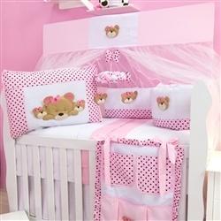 Kit Berço Família Urso Rosa