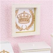 Quadro Decorativo Realeza Dourada com Pérolas e Strass