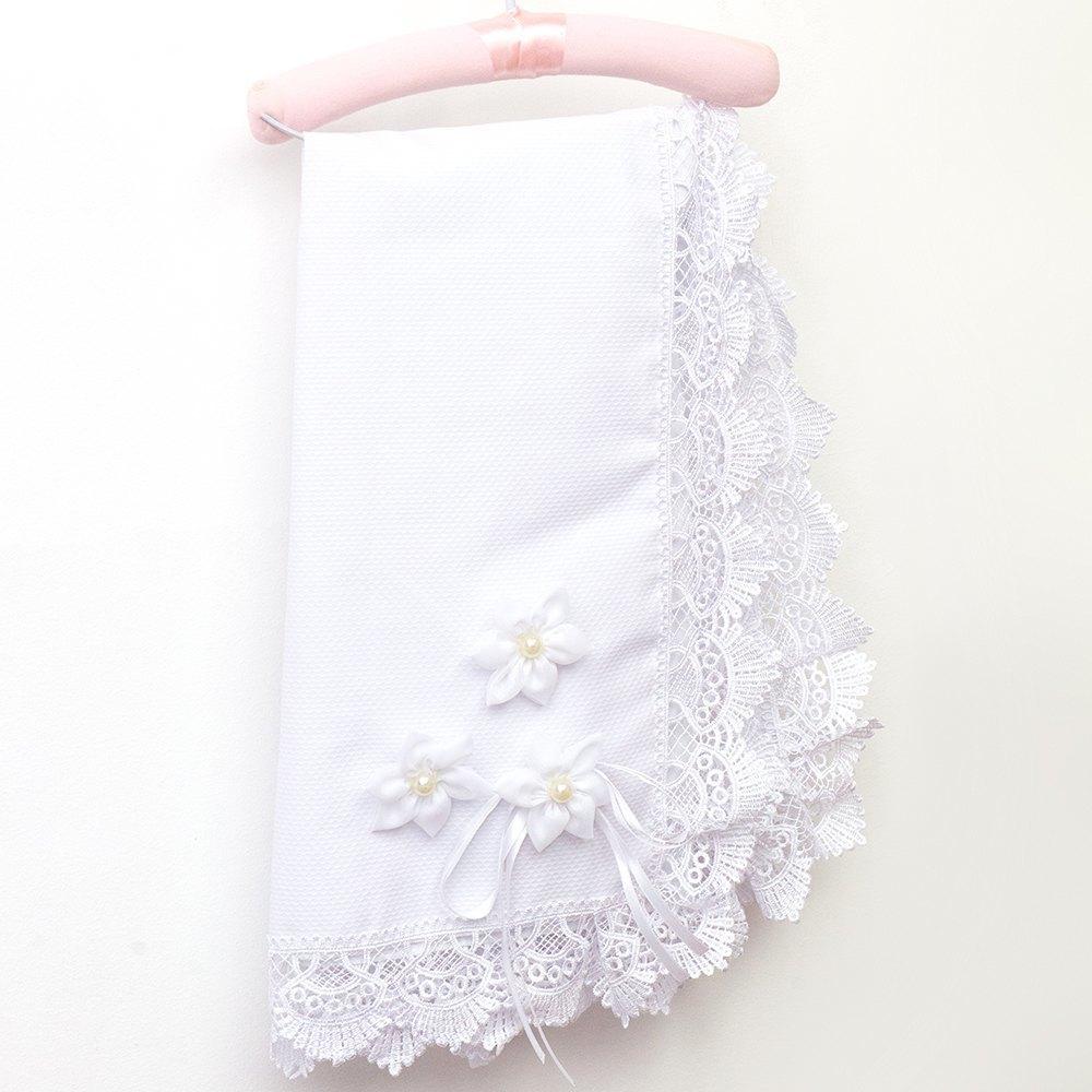 Manta Fuxico Flores Brancas