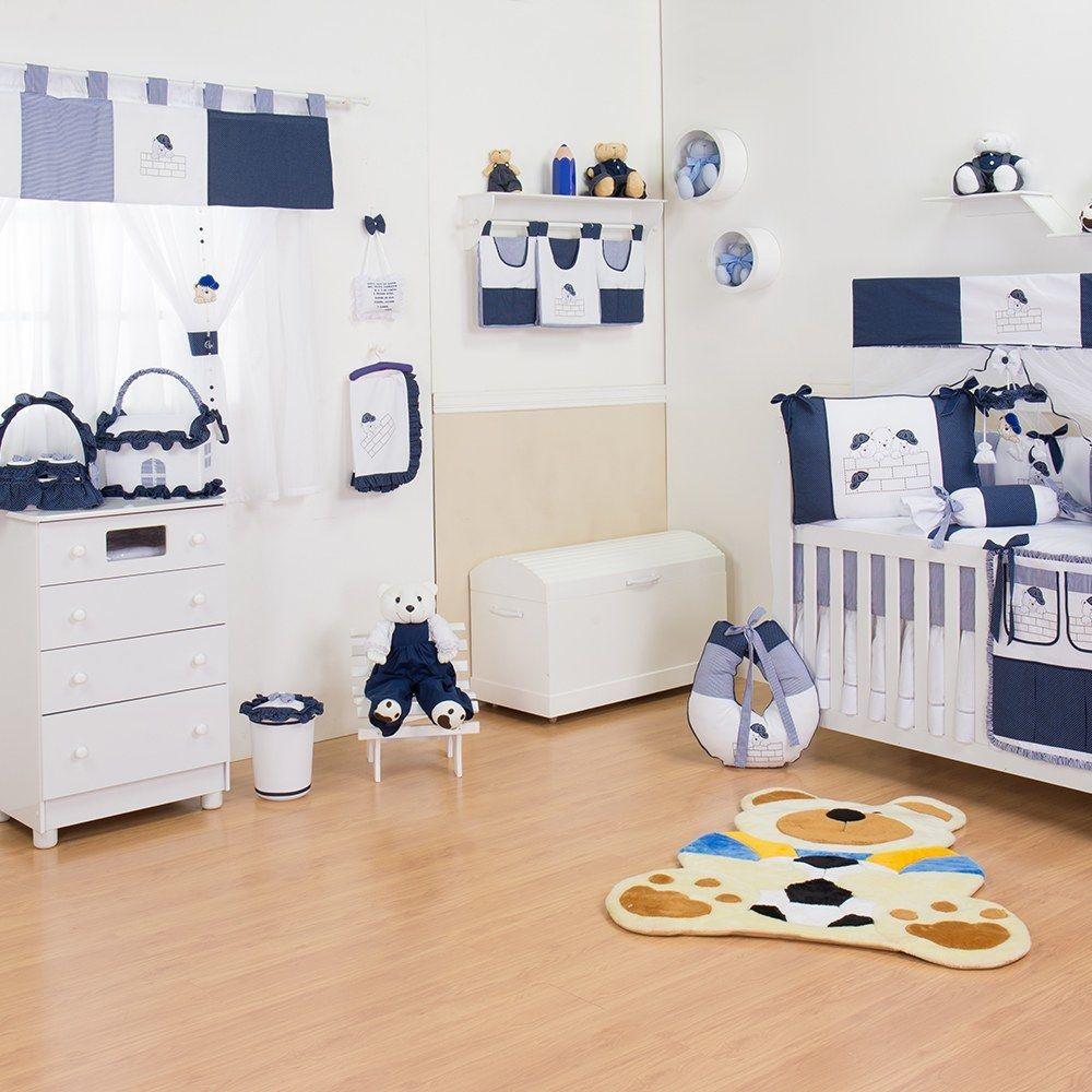 Quarto para Bebê sem Cama Babá Família Urso Marinho