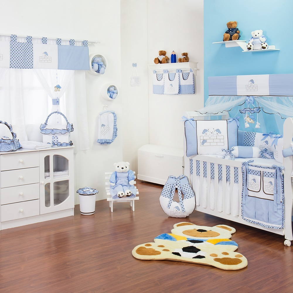 Quarto para Bebê sem Cama Babá Família Urso Azul