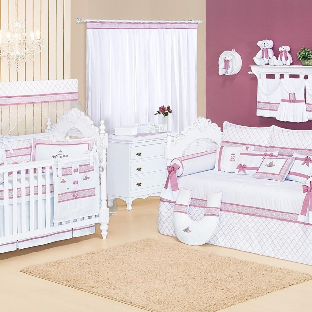 Quarto para Bebê Sem Cama Babá Noble Rosê