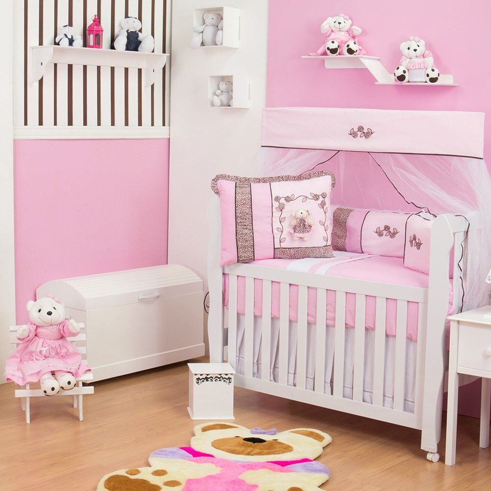 Quarto para Bebê sem Cama Babá Oncinha Rosa